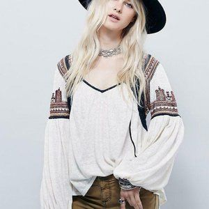 Free People Snow Kisses Embroidered Boho Top S US